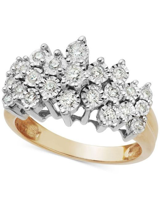 Macy's   Metallic Diamond Crown Ring In 10k Gold (1/2 Ct. T.w.)   Lyst