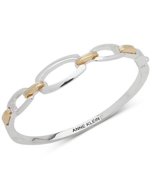 Anne Klein - Metallic Two-tone Link Bangle Bracelet - Lyst