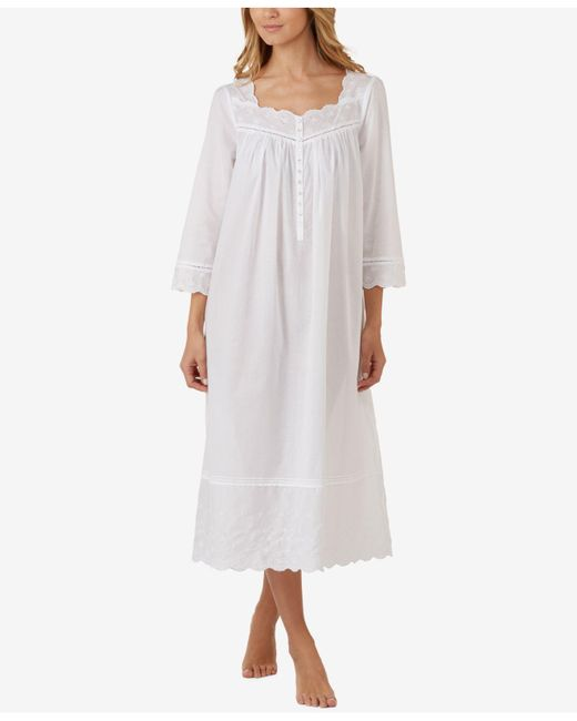 Eileen West | White Cotton Embroidered Ballet-length Nightgown | Lyst