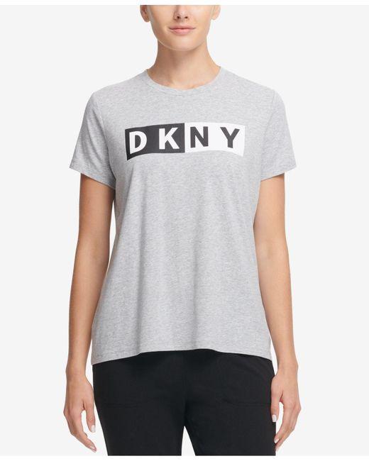 DKNY - Gray Two-tone Logo Tee - Lyst