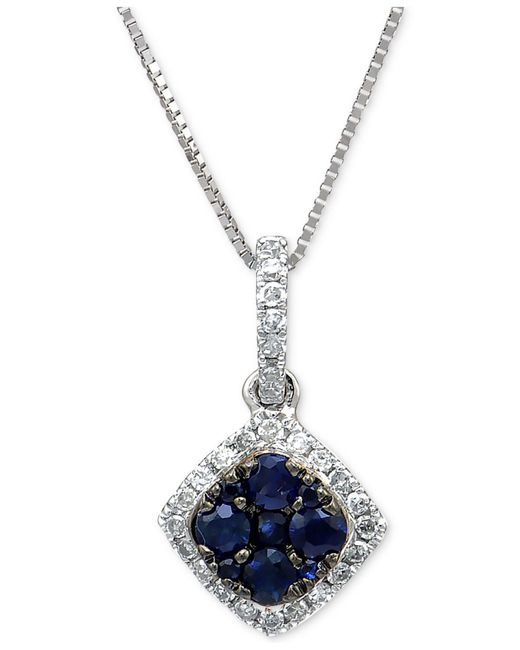 Macy's | Sapphire (1/4 Ct. T.w.) & Diamond (1/10 Ct. T.w.) Pendant Necklace In 14k White Gold | Lyst