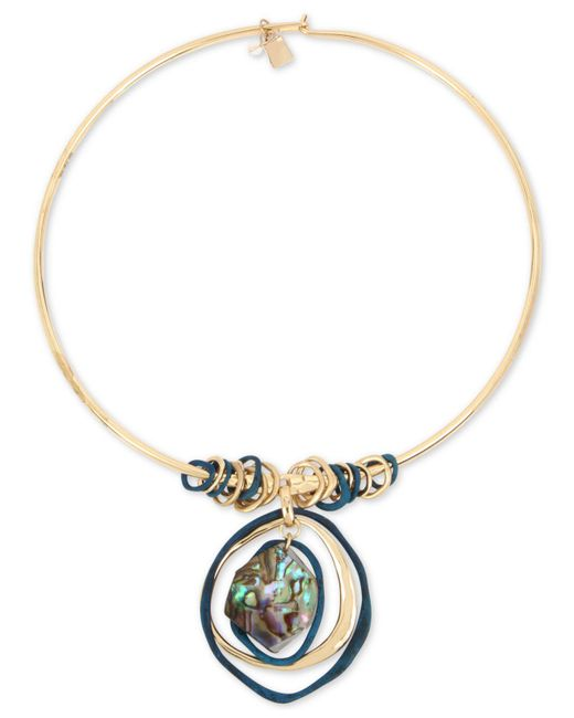 "Robert Lee Morris - Metallic Gold-tone Abalone-look Wire 17"" Pendant Necklace - Lyst"