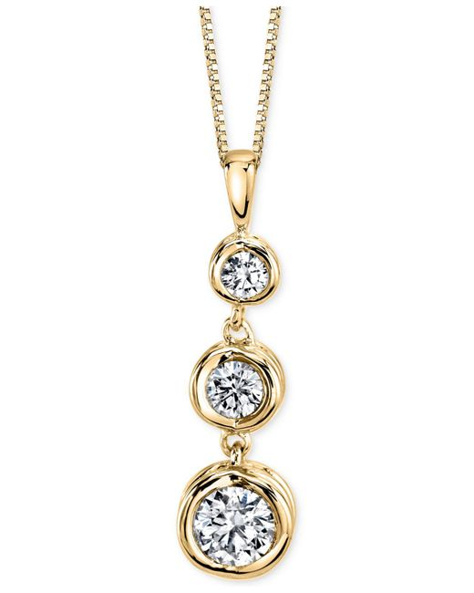Sirena - Metallic Diamond Three-stone Pendant Necklace (1/3 Ct. T.w.) In 14k Yellow Or White Gold - Lyst