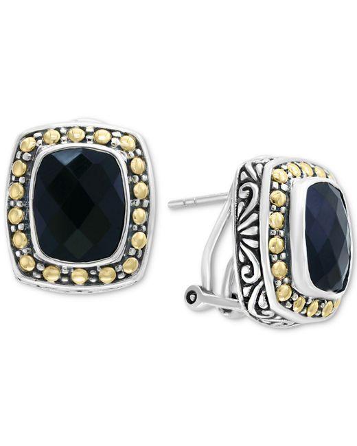 Effy Collection | Metallic Onyx (10 X 8mm) Stud Earrings In Sterling Silver & 18k Gold | Lyst