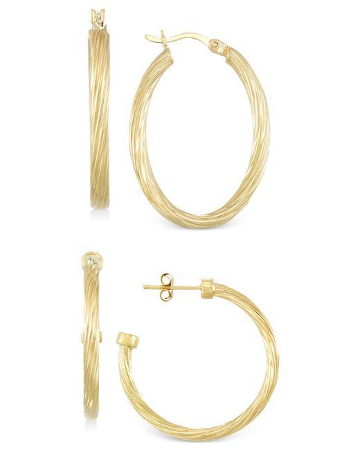 Macy's - Metallic Set Of Two Rope Hoop Earrings In 14k Gold Vermeil - Lyst