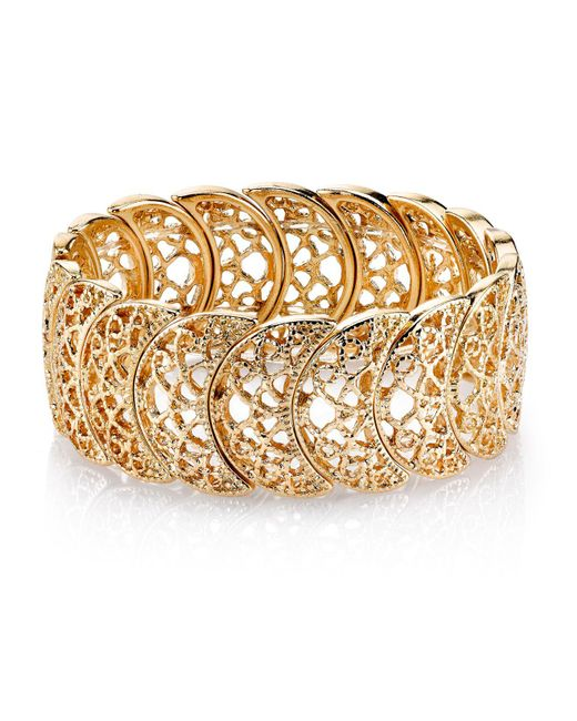 2028 - Metallic Rose Gold Tone Half Circle Filigree Bracelet - Lyst