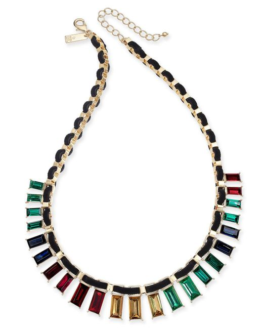 """INC International Concepts - Metallic I.n.c. Gold-tone Multicolor Baguette Crystal Velvet-woven Statement Necklace, 18"""" + 3"""" Extender, Created For Macy's - Lyst"""