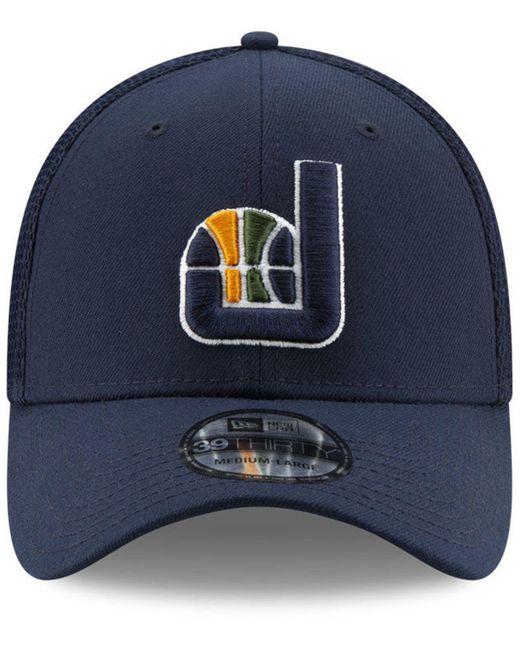 655d8dabe0b ... KTZ - Blue Utah Jazz Back Half 39thirty Cap for Men - Lyst ...