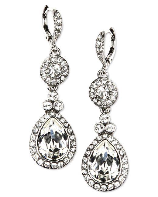 Givenchy - Metallic Earrings, Silver-tone Swarovski Element Double Drop Earrings - Lyst