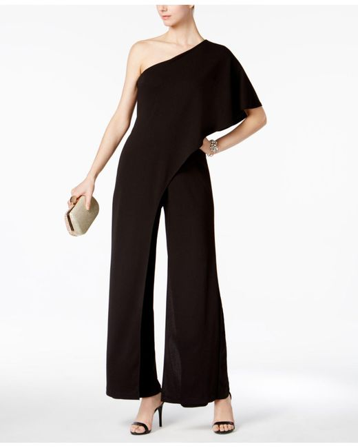 Adrianna Papell - Black Draped One-shoulder Jumpsuit - Lyst