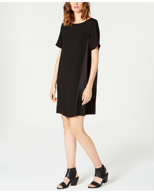 Eileen Fisher - Black Pullover Silk Shift Dress - Lyst