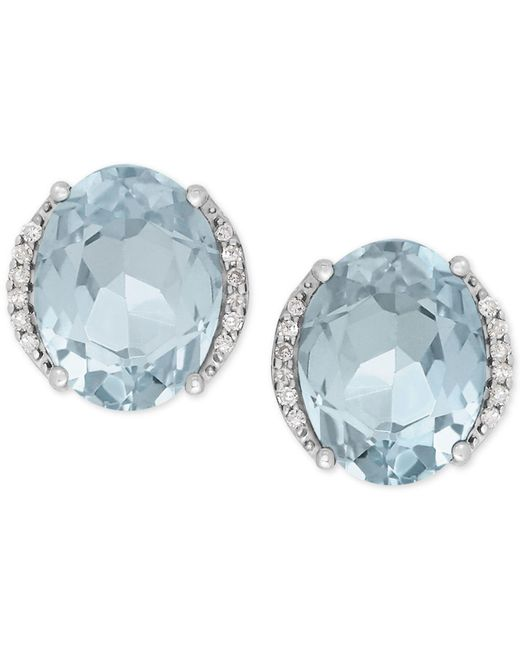 Macy's - Blue Aquamarine (3 Ct. T.w.) And Diamond Accent Stud Earrings In 14k White Gold - Lyst