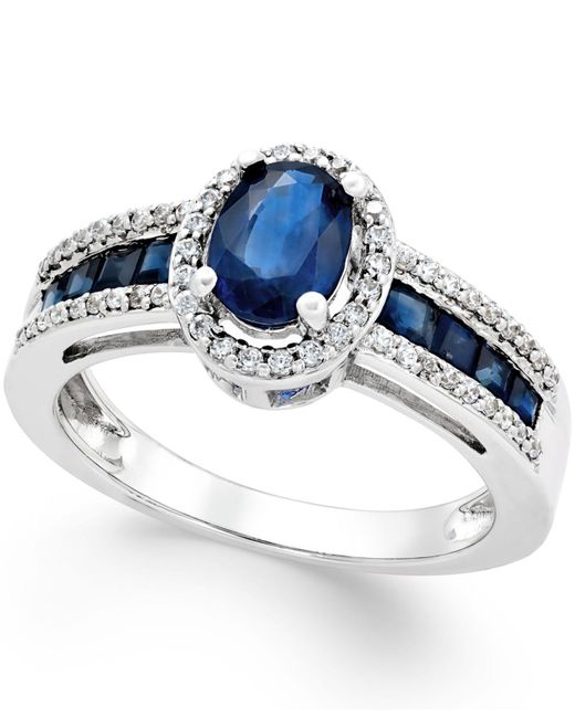 Macy's - Sapphire (1-3/4 Ct. T.w.) And Diamond (1/4 Ct. T.w.) Ring In 14k White Gold - Lyst