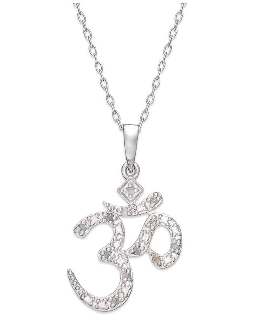 Macy's - Metallic Diamond Om Pendant Necklace In Sterling Silver (1/10 Ct. T.w.) - Lyst