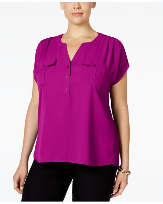 INC International Concepts | Purple Plus Size Mixed-media Utility Shirt, Only At Macy's | Lyst