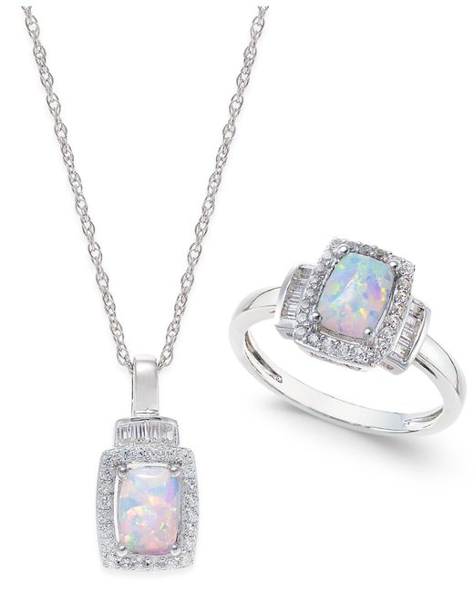 Macy's - Metallic Lab-created Opal (5/8 Ct. T.w.) And White Sapphire (5/8 Ct. T.w.) Pendant Necklace And Matching Ring Set In Sterling Silver - Lyst