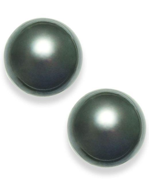 Macy's - Green Tahitian Pearl (14mm) Stud Earrings In 14k White Gold - Lyst