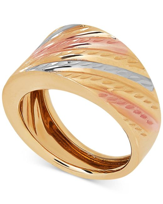 Macy's - Metallic Tri-color Statement Ring In 14k Gold & White And Rose Rhodium-plate - Lyst
