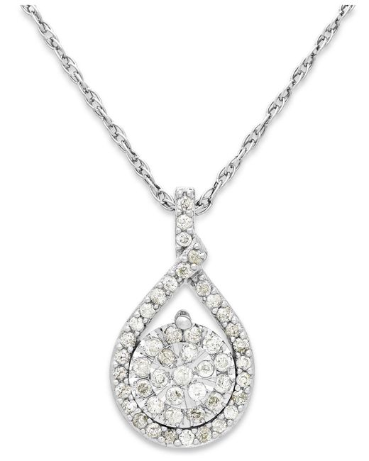 Macy's - Metallic Diamond Cluster Pendant Necklace In Sterling Silver (1/5 Ct. T.w.) - Lyst