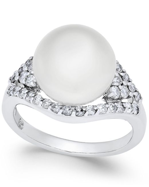 Macy's - Cultured White South Sea Pearl (11mm) And Diamond (5/8 Ct. T.w.) Ring In 14k White Gold - Lyst