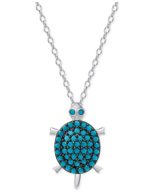 Macy's | Metallic Manufactured Turquoise Turtle Pendant Necklace In Sterling Silver | Lyst
