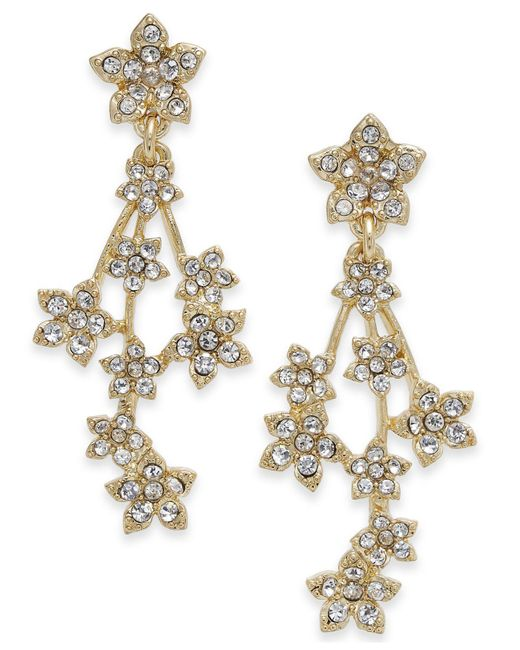 INC International Concepts - Metallic I.n.c. Silver-tone Crystal Flower Cluster Linear Drop Earrings, Created For Macy's - Lyst