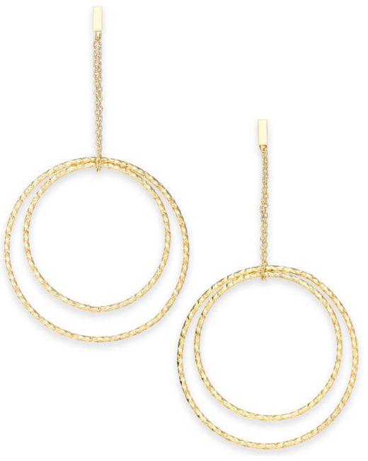 INC International Concepts - Metallic Gold-tone Textured Double Hoop Drop Earrings - Lyst