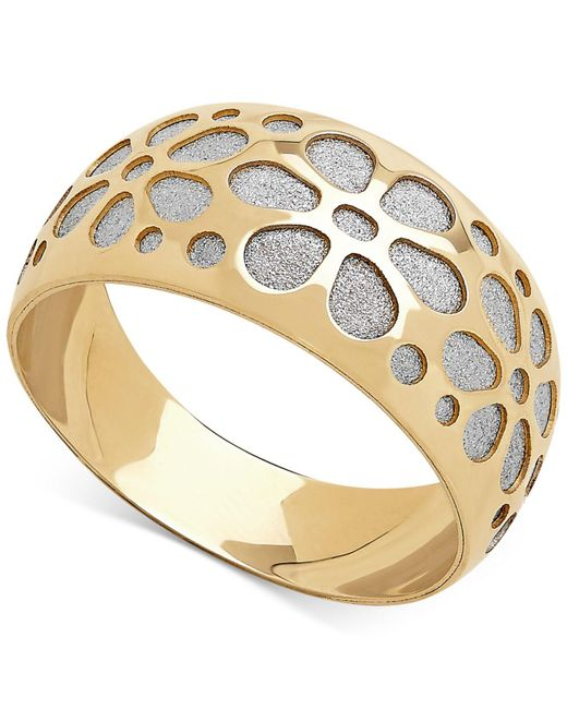 Macy's | Metallic Two-tone Flower Glitter Band In 14k Gold | Lyst