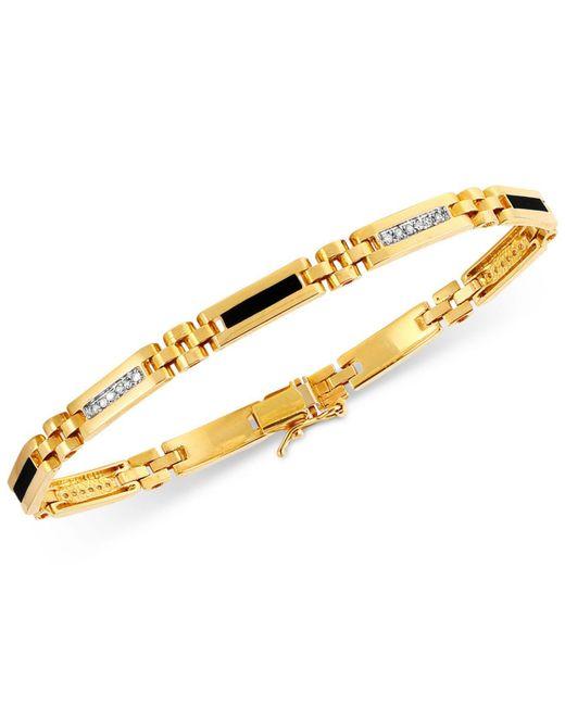 Macy's - Metallic Men's Onyx (11-1/2mm X 2-1/2 Mm) And Diamond (1/4 Ct. T.w.) Bracelet In 10k Gold for Men - Lyst