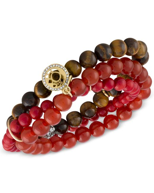 RACHEL Rachel Roy - Red Gold-tone Crimson Beaded Multi-row Stretch Bracelet - Lyst