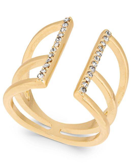 INC International Concepts - Metallic Gold-tone Pavé Open Ring - Lyst