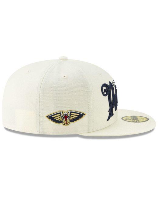 buy online b2fdd 4210a ... KTZ - Natural New Orleans Pelicans Jersey Script 59fifty-fitted Cap for  Men - Lyst ...