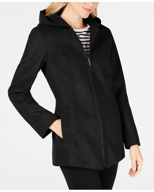 London Fog - Black Petite Hooded Coat - Lyst