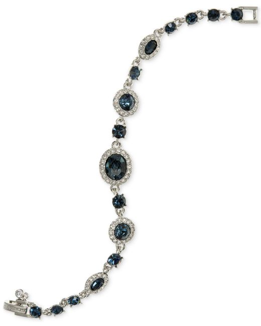 Givenchy - Blue Faceted Stone And Pavé Link Bracelet - Lyst