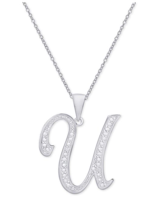 Macy's - Metallic Diamond Accent Script Initial Pendant Necklace In Sterling Silver - Lyst