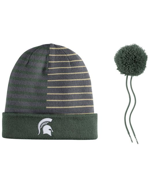 the latest 32628 7455b ... order nike green michigan state spartans striped beanie knit hat for  men lyst f4db4 051ea