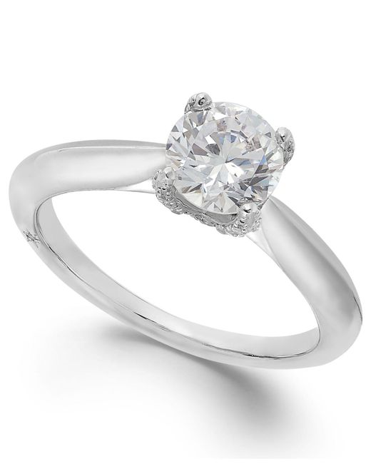 Marchesa - Certified Diamond Solitaire Engagement Ring In 18k White Gold (1 Ct. T.w.) - Lyst
