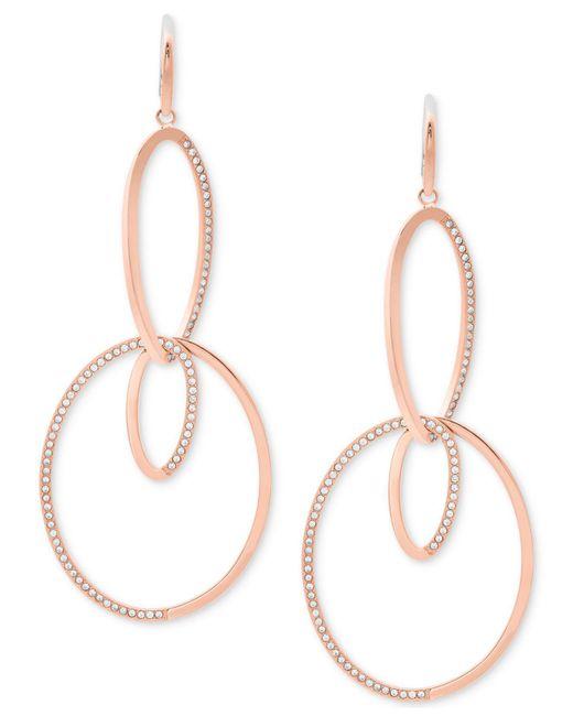 Michael Kors | Metallic Pavé Double-loop Drop Earrings | Lyst