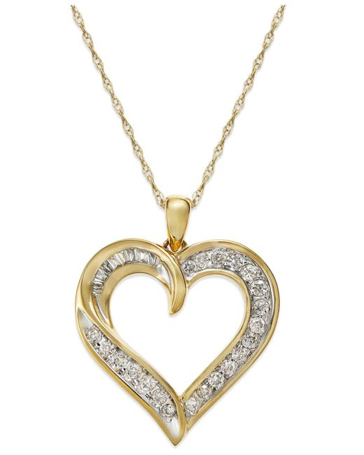 Macy's - Metallic Diamond Heart Pendant Necklace In 14k Gold (1/4 Ct. T.w.) - Lyst