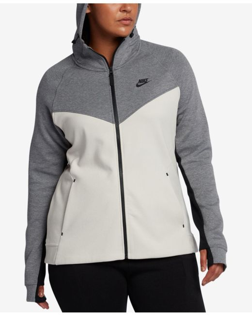 Nike - Black Plus Size Sportswear Tech Fleece Zip Hoodie - Lyst