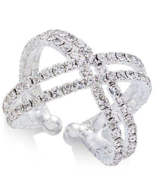 INC International Concepts | Metallic Silver-tone Crystal Crisscross Flex Ring | Lyst