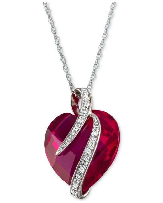 Macy's - Red Lab-created Ruby (10-3/4 Ct. T.w.) & White Sapphire Accent Heart Pendant Necklace In Sterling Silver - Lyst