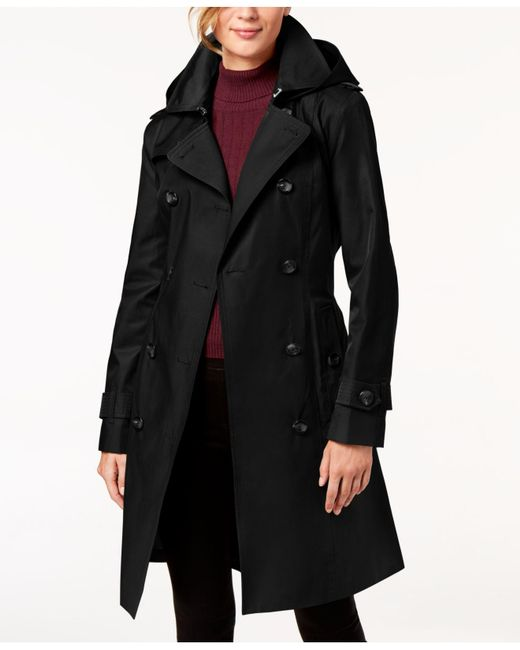 London Fog - Black Hooded Double-breasted Trench Coat - Lyst