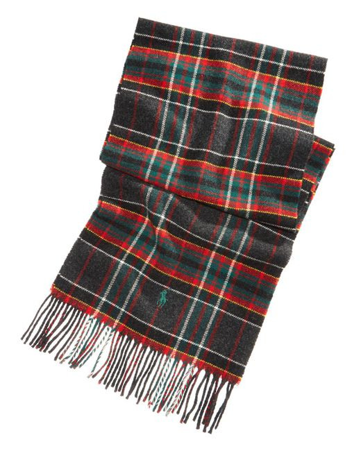 Polo Ralph Lauren - Gray Men's Virgin Wool Tartan Plaid Reversible Scarf for Men - Lyst