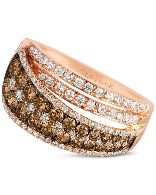 Le Vian | Metallic Chocolate And White Diamond Ring (1-1/2 Ct. T.w.) In 14k Rose Gold | Lyst