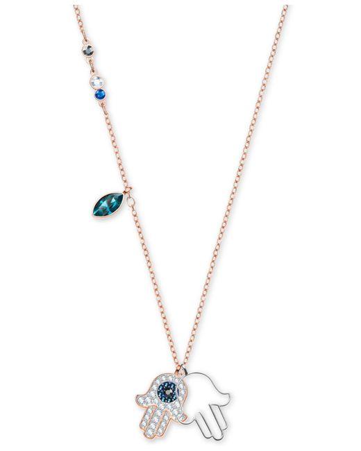 Swarovski - Multicolor Two-tone Multi-crystal Hamsa Hand Pendant Necklace - Lyst