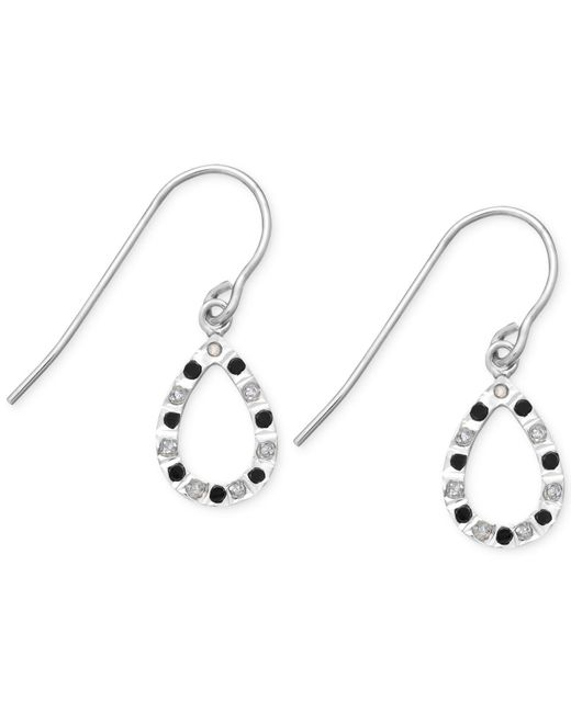 Macy's   Multicolor Black And White Diamond Accent Teardrop Earrings In Sterling Silver   Lyst