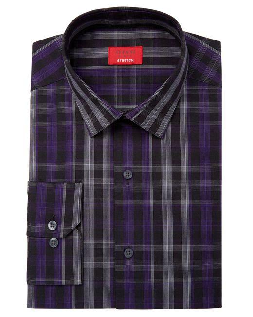 Alfani | Purple Men's Slim-fit Stretch Windowpane Plaid Dress Shirt, Created For Macy's for Men | Lyst