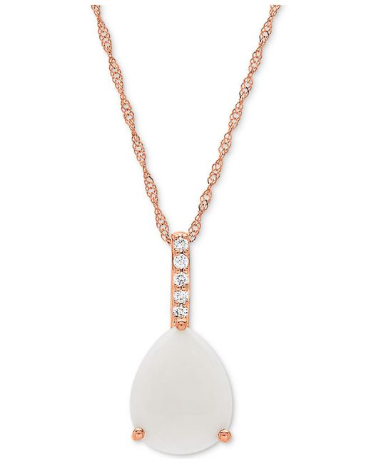 """Macy's - Metallic Opal (1-1/3 Ct. T.w.) & Diamond Accent 18"""" Pendant Necklace In 14k Rose Gold - Lyst"""