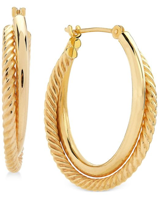 Macy's - Metallic Spiral And Polished Double Hoop Earrings In 14k Gold - Lyst